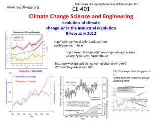 CE 401 Climate Change Science and Engineering evolution of climate