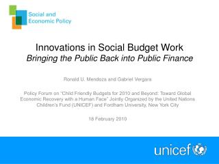Innovations in Social Budget Work Bringing the Public Back into Public Finance