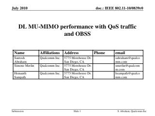 DL MU-MIMO performance with QoS traffic and OBSS