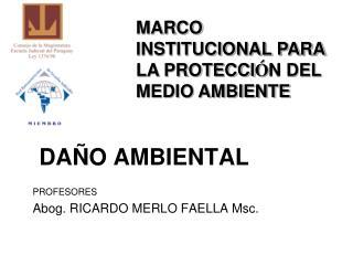 DAÑO AMBIENTAL PROFESORES Abog. RICARDO MERLO FAELLA Msc.