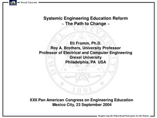 XXII Pan American Congress on Engineering Education  Mexico City, 23 September 2004