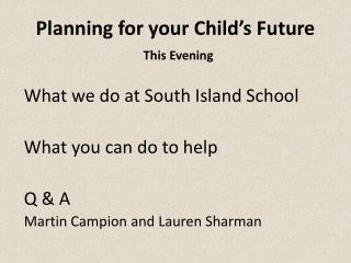 Planning for your Child ' s Future