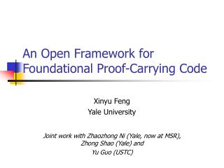 An Open Framework for Foundational Proof-Carrying Code