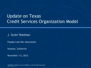 Update on Texas  Credit Services Organization Model