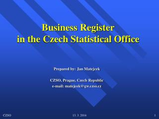 Business Register in the Czech Statistical Office