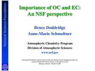 Importance of OC and EC:  An NSF perspective