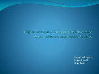Higher Ed Inquiry: Independent University Organizational Consultation Experts