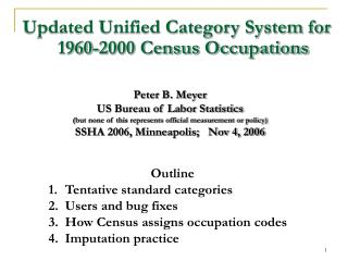 Updated Unified Category System for 1960-2000 Census Occupations