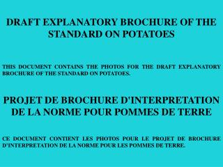 DRAFT EXPLANATORY BROCHURE OF THE STANDARD ON POTATOES