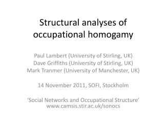 Structural analyses of occupational homogamy