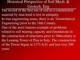 Historical Perspective of Soil Mech. & Geotech. Eng