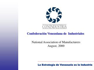 National Association of Manufacturers  August, 2000