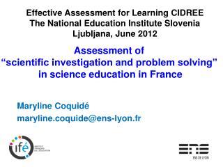 Maryline Coquidé maryline.coquide@ens-lyon.fr