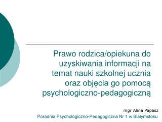 mgr Alina Papasz