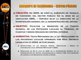 SUBGRUPO DE TAXONOMIAS – SECTOR PÚBLICO