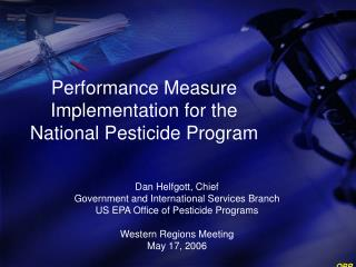 Performance Measure Implementation for the National Pesticide Program