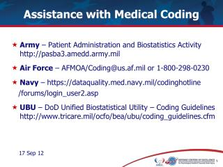 Assistance with Medical Coding