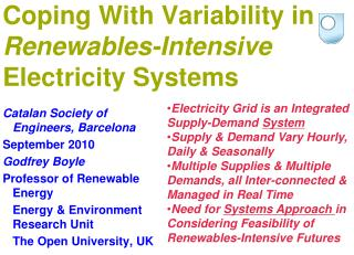 Coping With Variability in  Renewables-Intensive  Electricity Systems