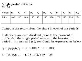 Single period returns Eg. 01