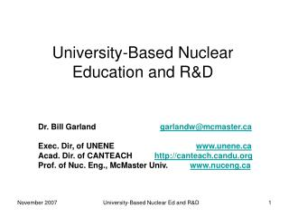 University-Based Nuclear Education and R&D