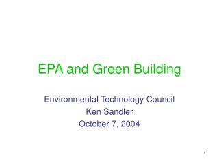 EPA and Green Building