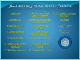 Guía del ocio y tiempo libre en Carmona