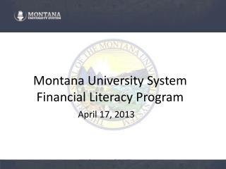 Montana University System Financial Literacy Program