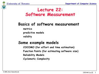 Lecture 22: Software Measurement