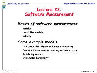 Lecture 22: Software Measurement