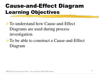 Cause-and-Effect Diagram Learning Objectives