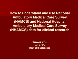 How to understand and use National Ambulatory Medical Care Survey NAMCS and National Hospital Ambulatory Medical Care Su