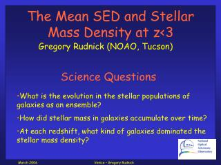 The Mean SED and Stellar Mass Density at z<3