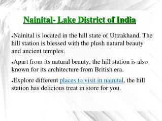 Places to visit in Nanital