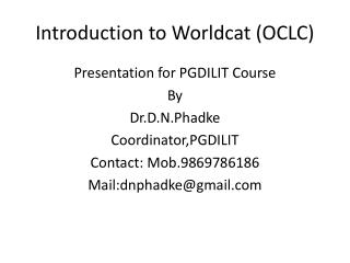 Introduction to Worldcat (OCLC)