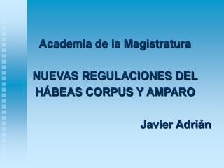 Academia de la Magistratura NUEVAS REGULACIONES DEL  HÁBEAS CORPUS Y AMPARO Javier Adrián