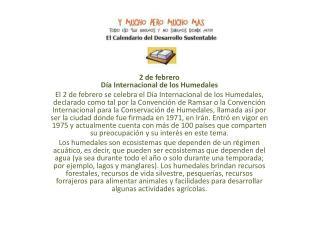 2 de febrero Día Internacional de los Humedales