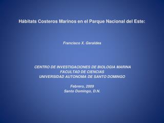 Hábitats Costeros Marinos en el Parque Nacional del Este: