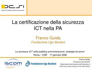 La certificazione della sicurezza ICT nella PA
