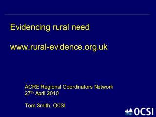 Evidencing rural need rural-evidence.uk