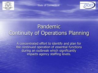 Pandemic  Continuity of Operations Planning