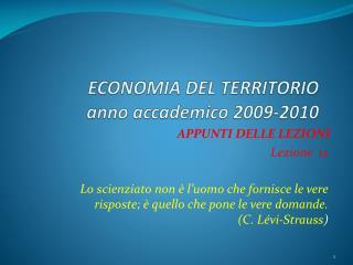 ECONOMIA DEL TERRITORIO anno accademico 2009-2010