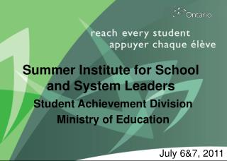 Summer Institute for School and System Leaders