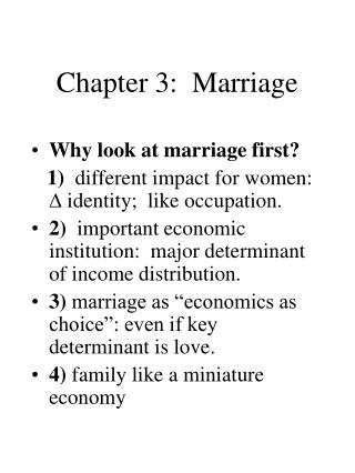 Chapter 3:  Marriage