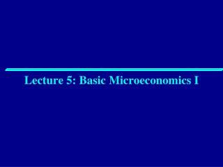 Lecture 5: Basic Microeconomics I