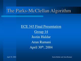 The Parks-McClellan Algorithm