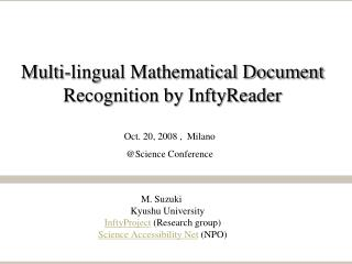 Multi-lingual Mathematical Document Recognition by InftyReader
