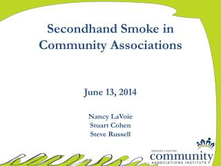 Secondhand Smoke in Community Associations