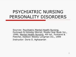 PSYCHIATRIC NURSING PERSONALITY DISORDERS