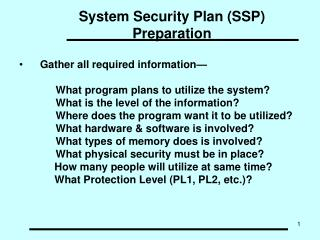 System Security Plan (SSP) Preparation