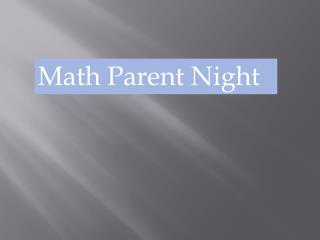 Math Parent Night